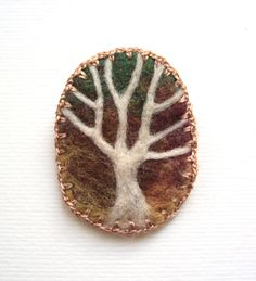 Felt brooch, white tree, forest scene, golden woodland, tree pin - The wishing tree. $13.00, via Etsy.