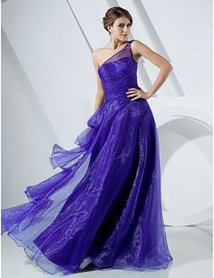 A-line One Shoulder Floor-length Organza Evening Dress - USD $ 149.99