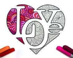 LOVE Heart - PDF Zentangle Coloring Page