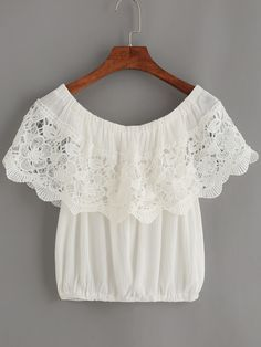 Shop White Crochet Trim Off The Shoulder Top online. SheIn offers White Crochet Trim Off The Shoulder Top & more to fit your fashionable needs. Look Fashion, Girl Fashion, Fashion Outfits, Fashion Design, Blouse Styles, Blouse Designs, Casual Outfits, Cute Outfits, Crochet Trim