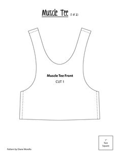 Muscle Tee Shirt Front. Fold over elastic was use to finish neckline and armholes.