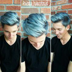 Blue hair dont care. Men color hair too. Lanza color. Mens haircut. @sierra_haircolorist on instagram