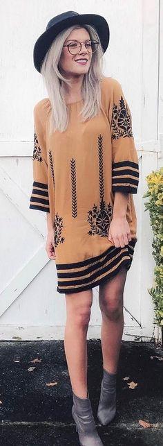 #winter #fashion /  Black Hat / Printed Camel Dress / Dark Booties
