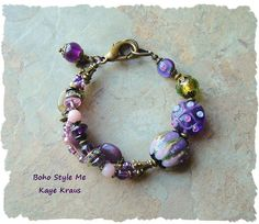 Lampwork Charm Bracelet, Handmade Multistrand Beaded Bracelet, Gypsy Queen, Bohemian Jewelry, BohoStyleMe, Kaye Kraus
