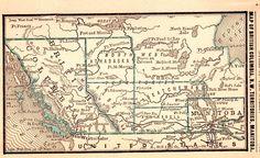 1886 Antique BRITISH COLUMBIA Canada Map Northwest Territory Miniature 2940