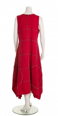 Boris Red Decorative Seam Flared Dress  - Boris from idaretobe.com UK