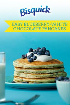 Step up your pancake game with these easy blueberry white chocolate pancakes