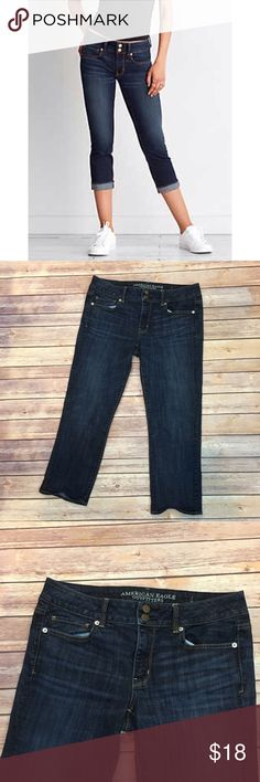 """American Eagle Artist Crop Jeans American Eagle Artist Crop Jeans. Pic 1 for styling inspiration. Cuff them or roll them down. Waist 17""""/ front rise 9""""/ back 11"""" inseam 24"""". American Eagle Outfitters Jeans Ankle & Cropped"""