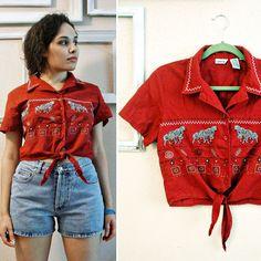 Little 90s crop-top!! Vtg 80s/90s Zebra brick red embroidered by FrankieMariebyRehcy, $24.99 #fashion #90sfashion #croptop #tribal #tribaltop #zebraprint #ilovethe90s