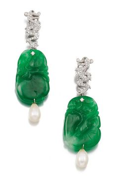 PAIR OF CULTURED PEARL, JADEITE AND DIAMOND PENDENT EAR CLIPS