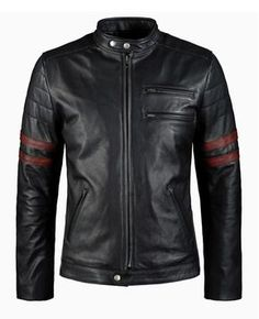 Hybrid - Great 70's style motorcycle jacket with double chest pockets and distressed red sleeve band and details. Shoulder and elbow protection in this 1.2mm calf leather biker jacket. Ride in style. SoulRevolver.com