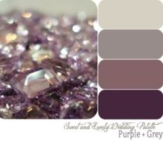 Master bedroom colors, grey walls, antique purple quilt, plum, silver and glass accents! (This would be awesome since Brad's favorite color is purple and amethist is my birthstone! Purple Color Schemes, Gray Color, Mauve Color, Silver Color, Color Combos, Brown Colors, Gray Accent Colors, Gray Bedroom Color Schemes, Grey Living Room Ideas Colour Palettes