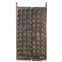 India große mächtige Kassetten Tür geschnitzte Verzierungen Rajasthan um 1920