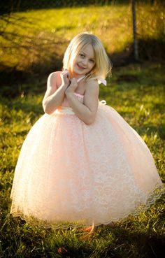 BLUSH Flower Girl Tutu Dress with Champagne by littledreamersinc, $110.00