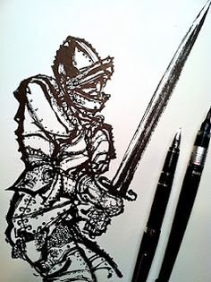 """Cover illustration for """"The Song of Roland"""" drawn with a Pilot Falcon and a Pentel brush pen."""