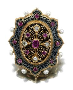 GEM-SET PENDANT-BROOCH, CIRCA 1870.  The pendant-brooch of  Moorish design, decorated with a floral motif set with circular-cut and cushion-shaped rubies and circular-cut diamonds against a black enamel ground, the stylized border applied with black enamel foliate scrolls to a blue-grey guilloché enamel ground and accented with rubies and pearls, mounted in yellow gold