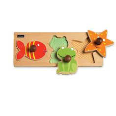 Babytactile Water animals - Lift-out animal shapes, fish, frog and starfish, for toddlers to discover different textures and stimulate their sense of touch. 3 piece cut-out in varnished wood.