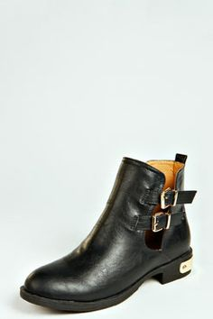 Poppy Cut Out Boot With Plaque Heel at boohoo.com