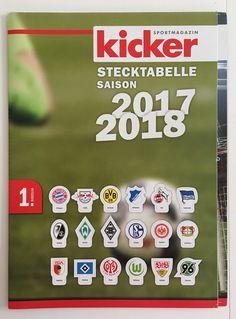 Die Bundesliga-Stecktabelle. Ein Kult-Produkt in der Zeitschrift Kicker. Bundesliga-Start für die Saison 2017/2018 am 18.August 2017.