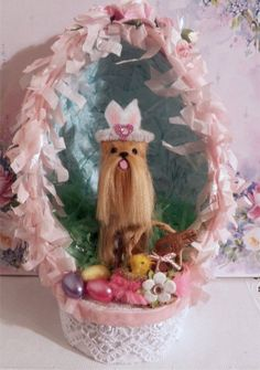 Easter Yorkie Dog in Egg with Basket and flowers sculpted and furred OOAK  CTD