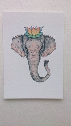 dd6049d88 Elephant and Lotus Crown 5x7 Watercolour Painting Elephant Watercolor  Cards, Watercolour Painting, Elephant Tattoos