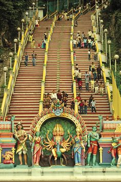 Stairways of the esoteric Batu cave, Malaysia.