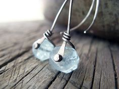 Aquamarine silver rivet earrings by TheSilverPearl on Etsy, $38.00