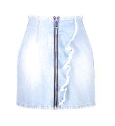 Jeans skirt with bold black zipper detail Light frayed touch, side ruffle Single back pocket Jean Skirt, Denim Skirt, Waist Skirt, High Waisted Skirt, Jeans, Skirts, Cotton, Black, Women