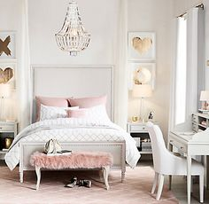 RH TEEN's Maelin Upholstered Bed:Our collection finds inspiration in the artful lines of 18th-century French antiques, exhibiting the rectilinear shapes, raised-panel drawers and classic turned legs of the originals. A subtle brushed texture conveys our piece