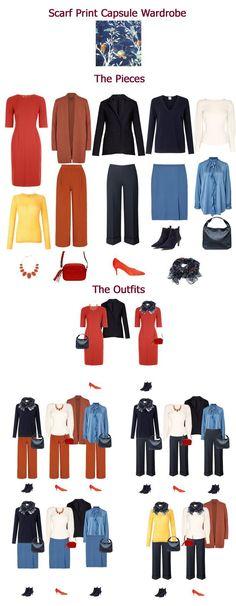 Autumn capsule wardrobe inspired by a scarf print #wardrobebasics