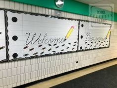 This welcome to school bulletin board has a fun effect that is easy and economical to put together! Even better that it is a welcome from the team of staff members to all students! Staff Bulletin Boards, Back To School Bulletin Boards, Welcome To Kindergarten, Welcome Back To School, Classroom Door, Classroom Displays, Staff Lounge, School Items, School Stuff