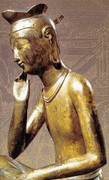 buddhabe:    Bronze statue of Maitreya (Miroku) as a young man, dreaming into existence worlds to come. Mirjok. 7th (?) century. Korea.