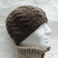 Cappelli di lana ai ferri da uomo - Cappello di lana marrone Cappelli A  Maglia 082401ff6451