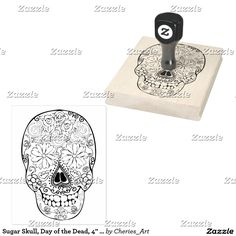 """Sugar Skull, Day of the Dead, 4"""" x 5"""" Rubber Stamp #dotd #stamps #stamping #craftsupplies #stamp #sugarskullstamp #dayofthedead #artsupplies"""