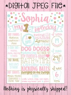 Pink, Mint and Gold Glitter First Birthday Chalkboard | Girl 1st Birthday Chalk Board | White Infographic | Polka Dots | *DIGITAL FILE*