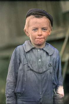 This boy's name was Donnie Cole. He gave his age a 12, but may have been even younger. Colorized by Steve Smith