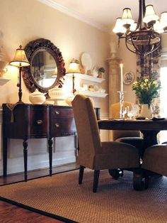 """Buffet with mirror and lamps  Style Underfoot - Budget-Friendly Dining Room Updates on HGTV  Needs to be 18-24"""" beyond the table"""