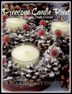 Gina's Craft Corner: Mini Pinecone Wreath-Mason Jar Lids