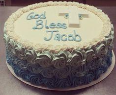 Blue Rosette Communion Cake