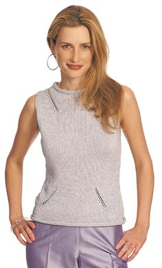 """A fitted shell with diagonal faggotting details and rolled collar and hem in Metallic FX. Shown in size Small. Sizes Directions are for women's size X-Small. Changes for sizes Small, Medium, Large, X-Large and XX-Large are in parentheses. Fnished Measurements Bust – 33(35-39-44-48-54)"""". Length – 22-1/2(23-23-1/2-24-24-1/2-25)"""" (Including rolled edge). Note: When measuring length of this garment, flatten out rolled edge and measure from beg."""