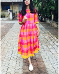 Pink and yellow checks cotton dress by Threeness | The Secret Label