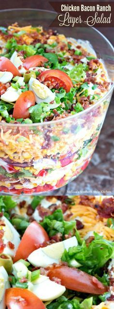 This delicious Chicken Bacon Ranch Layer Salad from Melissa's Southern Style Kitchen is the perfect dish to take to your next BBQ, potluck, church or family function!