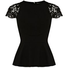 Karen Millen Lace Sleeve Peplum Top ($95) ❤ liked on Polyvore featuring tops, shirts, t-shirts, blusas, camisetas, black, black top, peplum tops, peplum shirt and lace sleeve top