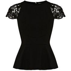Karen Millen Lace Sleeve Peplum Top ($140) ❤ liked on Polyvore