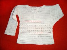 Crochet blouse White girls top Long by PerfectCrochetForYou