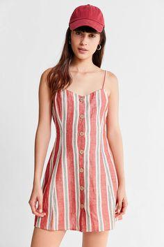 874f742204 Slide View  3  UO Breezy Plunging Linen Mini Dress