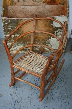 Bent twig chair for a tot. Dating to the early 1900s.  Very Adirondack and simply charming! From an old camp in Lake George, New York.