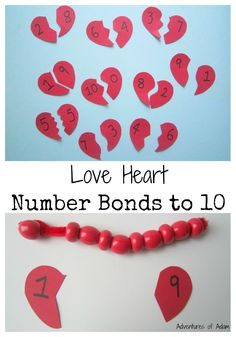 An easy way to learn number bonds to ten. Love Heart Number Bonds to 10