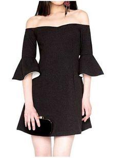 Kolları Fırfırlı Elbise Kolları Fırfırlı Omzu Açık Elbise Elbise En Trend Elbiseler 129,90 TL