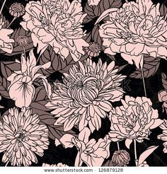 Amazing floral seamless pattern on black background - stock vector